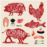 Illustration Grill Menu Labels Set of in Flat Design Style. Stock Photos