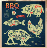 Illustration Grill Menu Labels Set of in Flat Design Style. Eps10 Stock Images