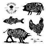 Illustration Grill Menu Labels Set of in Flat Design Style. Illustration Grill Menu Labels Set of in Flat Design Style eps10 Royalty Free Stock Photography
