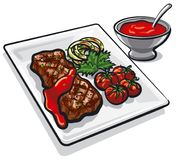 Grilled beef steak. Illustration of grilled beef steak with vegetables and tomato sauce Royalty Free Stock Photography