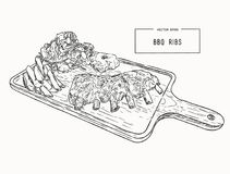 Illustration of grilled spare ribs . Illustration of grilled spare ribs with smashed potato , french fies and fresh salad serve on wooden board. hand draw royalty free illustration