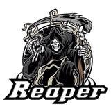 Illustration of grim reaper on white background. Illustration of grim reaper skull black Royalty Free Stock Image