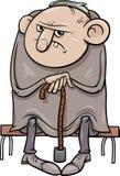 Illustration grincheuse de bande dessinée de vieil homme Photos libres de droits