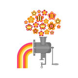 Illustration of a grinder with flowers and rainbow Stock Photos