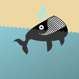 Illustration of a grinning whale. Retro illustration of a grinning whale Royalty Free Stock Images