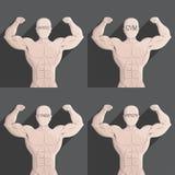 Illustration grise de symbole de forme physique de santé de gymnase de muscle masculin Illustration de Vecteur