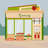 Illustration of the grocery, little shop with local food and vegetables. Illustration of the grocery, green shop with local food and vegetables Vector Illustration