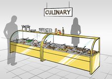 Illustration of a grocery store interior. With serving counter stock illustration