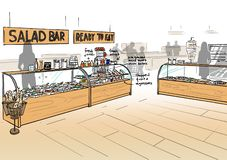 Illustration of a grocery store interior. With serving counter royalty free illustration