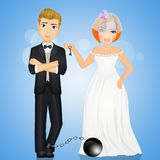 Groom with the ball at his feet. Illustration of groom with the ball at his feet Royalty Free Stock Photography