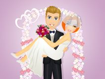 Groom carries her bride in his arms. Illustration of groom carries her bride in his arms Stock Images