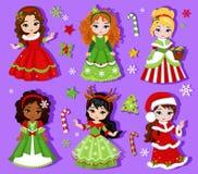 Illustration of group beautiful winter christmas princess. Royalty Free Stock Photos