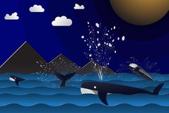 Illustration of group blue whale around island playing water jum royalty free illustration