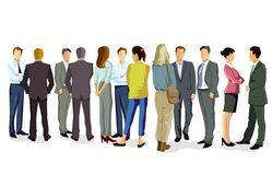 Business people having conversation. An illustration of a group of business people having a conversation on a white background royalty free illustration