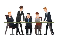 Group business people working in office. Men dressed in classic black suits and ties. Assistant work on laptop. Illustration of group business people working in vector illustration