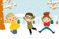 Illustration of a group of children jumping and playing in the snow in the winter Royalty Free Stock Image
