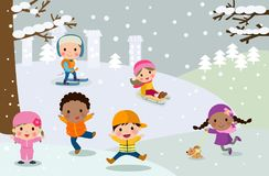 Group of children playing in snow Royalty Free Stock Photo