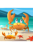 Illustration of a group of crabs at the seashore. Cute Crabs on Sandy Beach Stock Photo