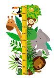 Group of cute animals .Meter wall or height chart. Illustration of Group of cute animals.Meter wall or height chart vector illustration