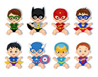 Illustration  group of cute babies boys in costumes of superheroes. Royalty Free Stock Photos