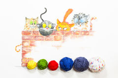 Illustration with group of cute cats and colorful wool balls. A group of cartoon style cats hiding behind a red brick wall and longing for the colorful wool royalty free illustration