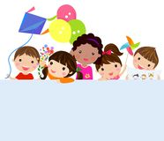 Kids and banner. Illustration of group of cute kids and banner Royalty Free Stock Photos