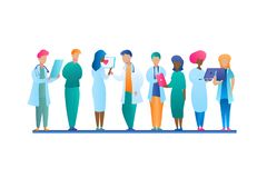 Illustration Group Doctor Talking Stands in Row stock illustration