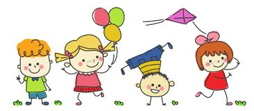 Group of happy children. Illustration of Group of happy children royalty free illustration