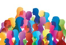 Talking crowd. Dialogue between people. People talking. Colored silhouette profiles. Illustration with group of people of different social backgrounds, of vector illustration