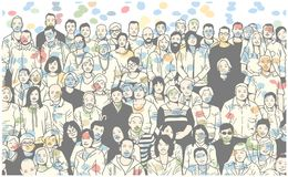 Illustration of group of people smiling and posing for a photograph in colorful festive atmosphere. Illustration of large group of people posing for photograph Royalty Free Stock Photos