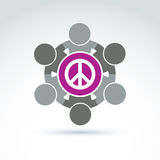 Illustration of a group of people standing around a peace sign, Stock Image