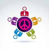Illustration of group of people standing around peace sign, Stock Photo