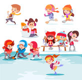 Illustration with groups of cute cartoon kids playing in winter park. Royalty Free Stock Images