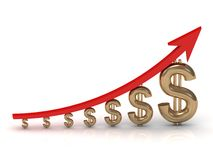 Illustration of the growth of the golden dollar with a red arrow Stock Images