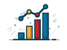 Illustration of growth graph with growth arrow, business concept. Background Stock Photo