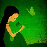 Illustration grunge d'imagination, petite fille illustration libre de droits