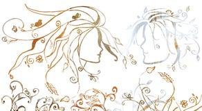 Illustration grunge d'un couple Images libres de droits