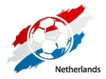 Illustration grunge de vecteur de style de drapeau néerlandais d'icône du football d'isolement sur le blanc illustration stock
