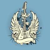 Illustration of grunge guitar. Beautiful Illustration of grunge guitar for designers Stock Image