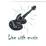 Illustration of grunge label with guitar Royalty Free Stock Photo