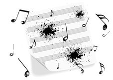 Illustration of a grunge music-sheet on white Royalty Free Stock Photography