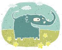 Illustration grunge tirée par la main d'éléphant mignon sur des WI de fond Image stock