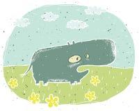 Illustration grunge tirée par la main d'hippopotame mignon sur le fond avec Photographie stock