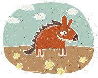 Illustration grunge tirée par la main d'hyène mignonne souriant sur le backgr Images libres de droits