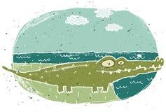 Illustration grunge tirée par la main de crocodile mignon sur le fond Photo libre de droits