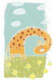 Illustration grunge tirée par la main de girafe mignonne sur le fond Images libres de droits