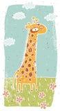 Illustration grunge tirée par la main de girafe mignonne sur le fond Image stock
