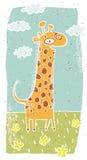Illustration grunge tirée par la main de girafe mignonne sur le fond Image libre de droits