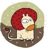 Illustration grunge tirée par la main de lion mignon sur le fond Images libres de droits