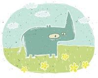 Illustration grunge tirée par la main de rhinocéros mignon sur le fond avec Images stock